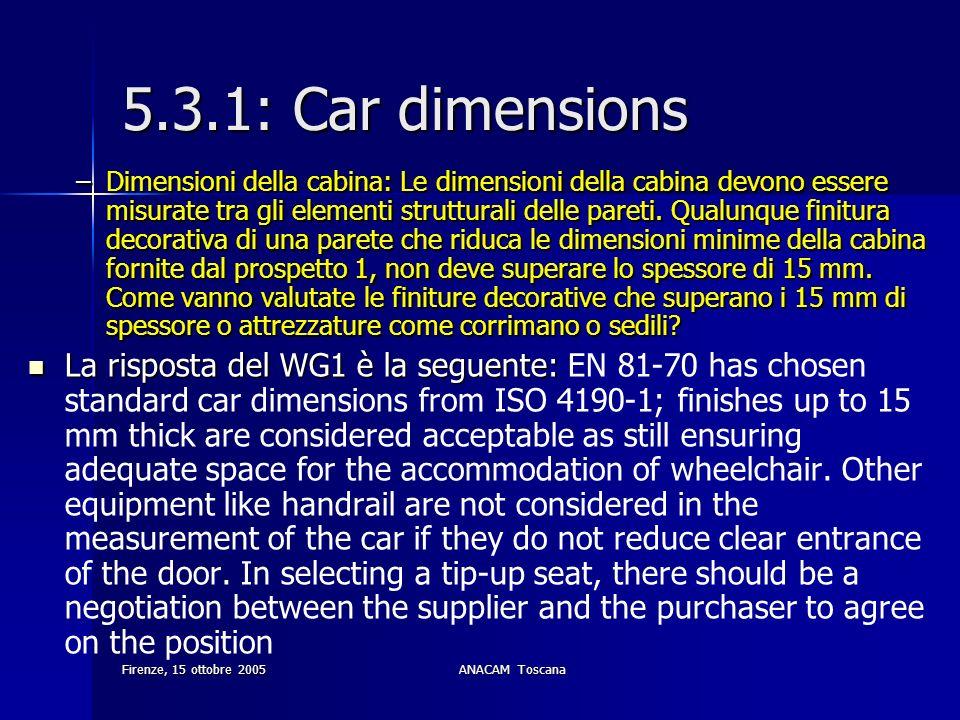 Firenze, 15 ottobre 2005ANACAM Toscana 5.3.1: Car dimensions –Dimensioni della cabina: Le dimensioni della cabina devono essere misurate tra gli eleme