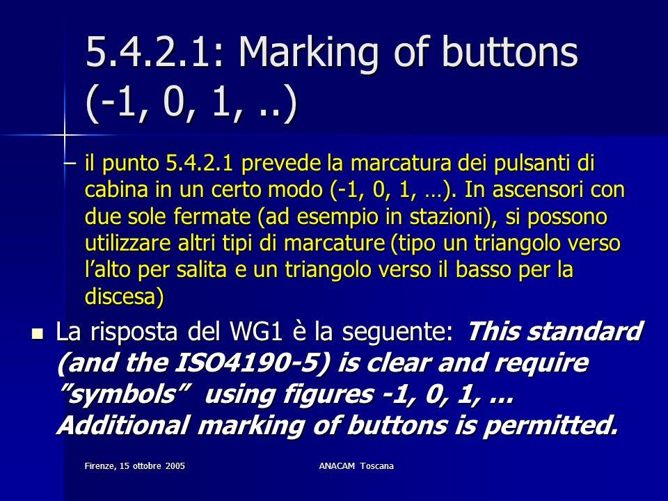 Firenze, 15 ottobre 2005ANACAM Toscana 5.4.2.1: Marking of buttons (-1, 0, 1,..) –il punto 5.4.2.1 prevede la marcatura dei pulsanti di cabina in un c