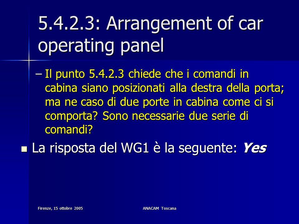 Firenze, 15 ottobre 2005ANACAM Toscana 5.4.2.3: Arrangement of car operating panel –Il punto 5.4.2.3 chiede che i comandi in cabina siano posizionati