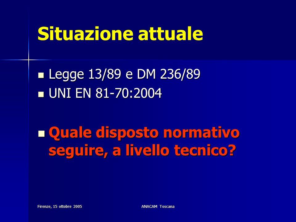Firenze, 15 ottobre 2005ANACAM Toscana Situazione attuale Legge 13/89 e DM 236/89 Legge 13/89 e DM 236/89 UNI EN 81-70:2004 UNI EN 81-70:2004 Quale di