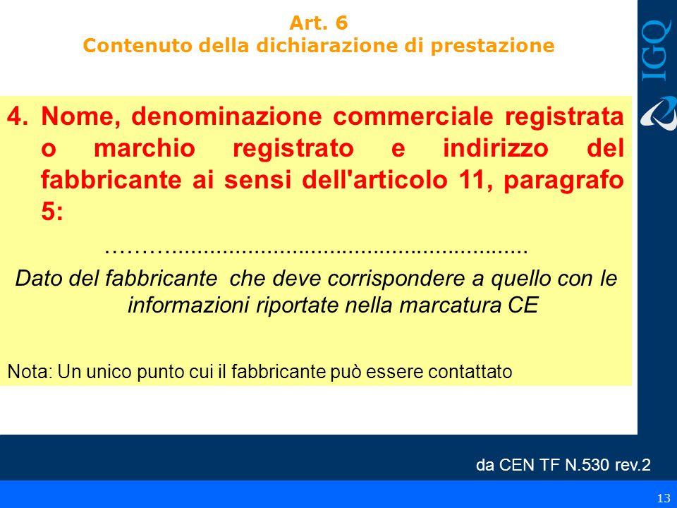 13 Art. 6 Contenuto della dichiarazione di prestazione 4.Nome, denominazione commerciale registrata o marchio registrato e indirizzo del fabbricante a