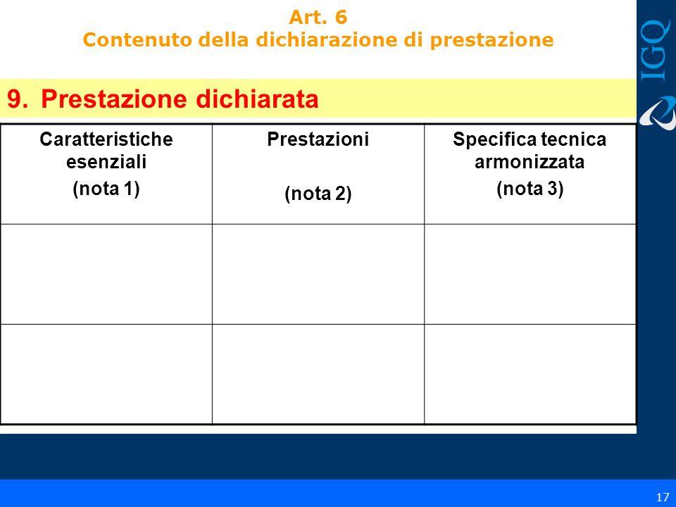 17 Art. 6 Contenuto della dichiarazione di prestazione 9.Prestazione dichiarata Caratteristiche esenziali (nota 1) Prestazioni (nota 2) Specifica tecn