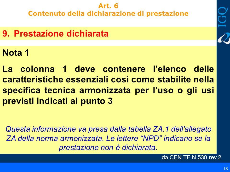 Art. 6 Contenuto della dichiarazione di prestazione 9.Prestazione dichiarata Nota 1 La colonna 1 deve contenere lelenco delle caratteristiche essenzia