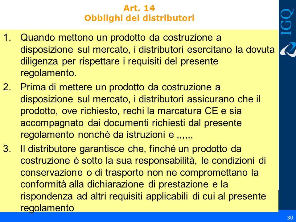 Art. 14 Obblighi dei distributori 1.Quando mettono un prodotto da costruzione a disposizione sul mercato, i distributori esercitano la dovuta diligenz