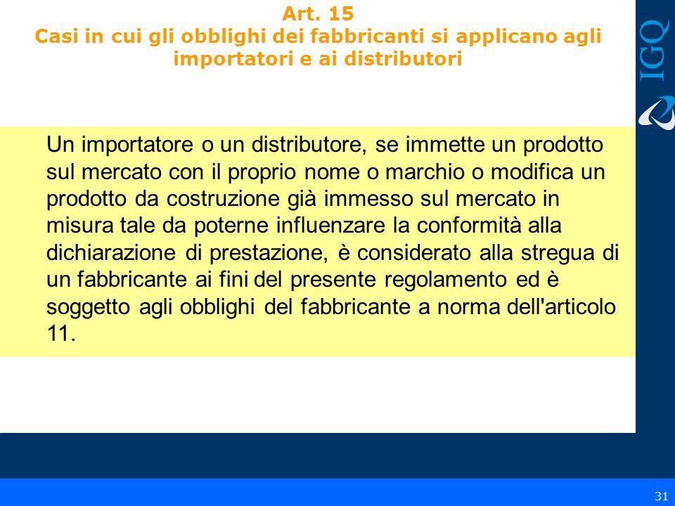 Art. 15 Casi in cui gli obblighi dei fabbricanti si applicano agli importatori e ai distributori Un importatore o un distributore, se immette un prodo