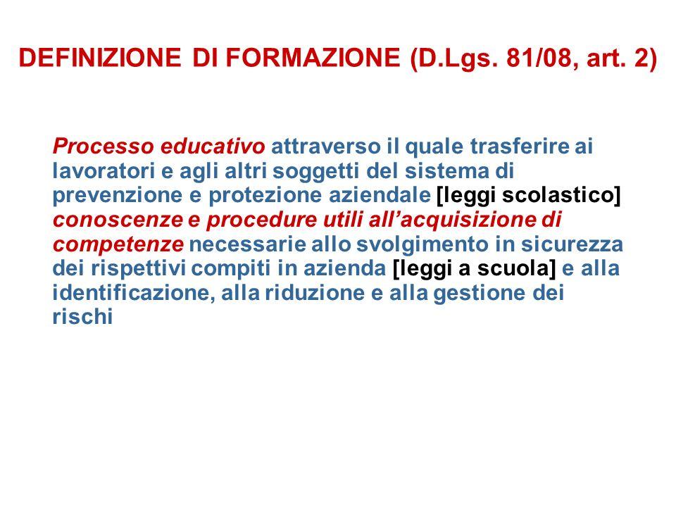 DEFINIZIONE DI FORMAZIONE (D.Lgs. 81/08, art.