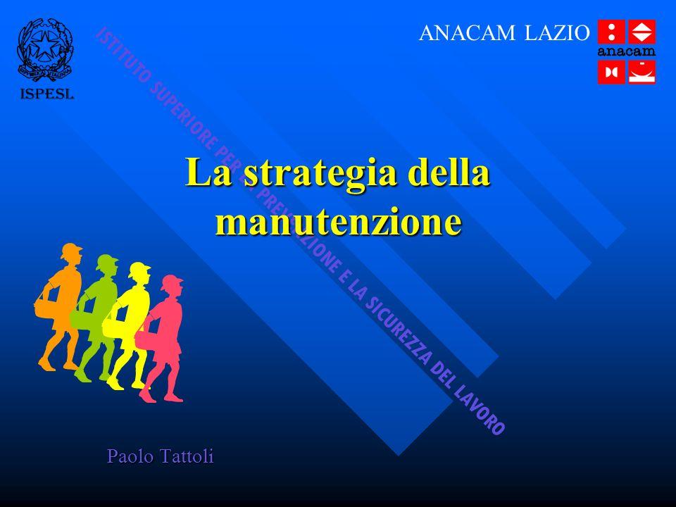 Roma, 25-02-2006Anacam Lazio22 PIANO DI MANUTENZIONE PIANO DI MANUTENZIONE PROGRAMMA (SCHEDA) - tipo di intervento - periodicità - tipo di manutenzione - esito PROGRAMMA (SCHEDA) - tipo di intervento - periodicità - tipo di manutenzione - esito PROCEDURE - modalità di intervento - attrezzature, DPI - esperienza operatore - strumentazione - analisi dei rischi PROCEDURE - modalità di intervento - attrezzature, DPI - esperienza operatore - strumentazione - analisi dei rischi