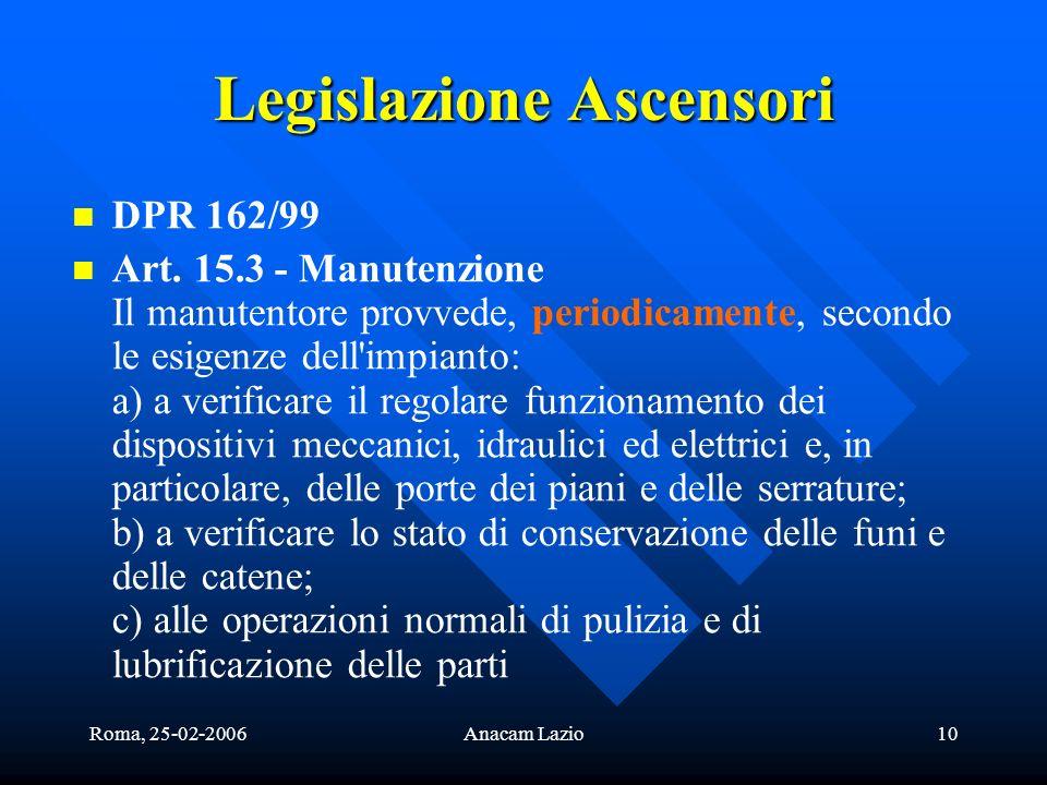 Roma, 25-02-2006Anacam Lazio10 Legislazione Ascensori DPR 162/99 Art. 15.3 - Manutenzione Il manutentore provvede, periodicamente, secondo le esigenze