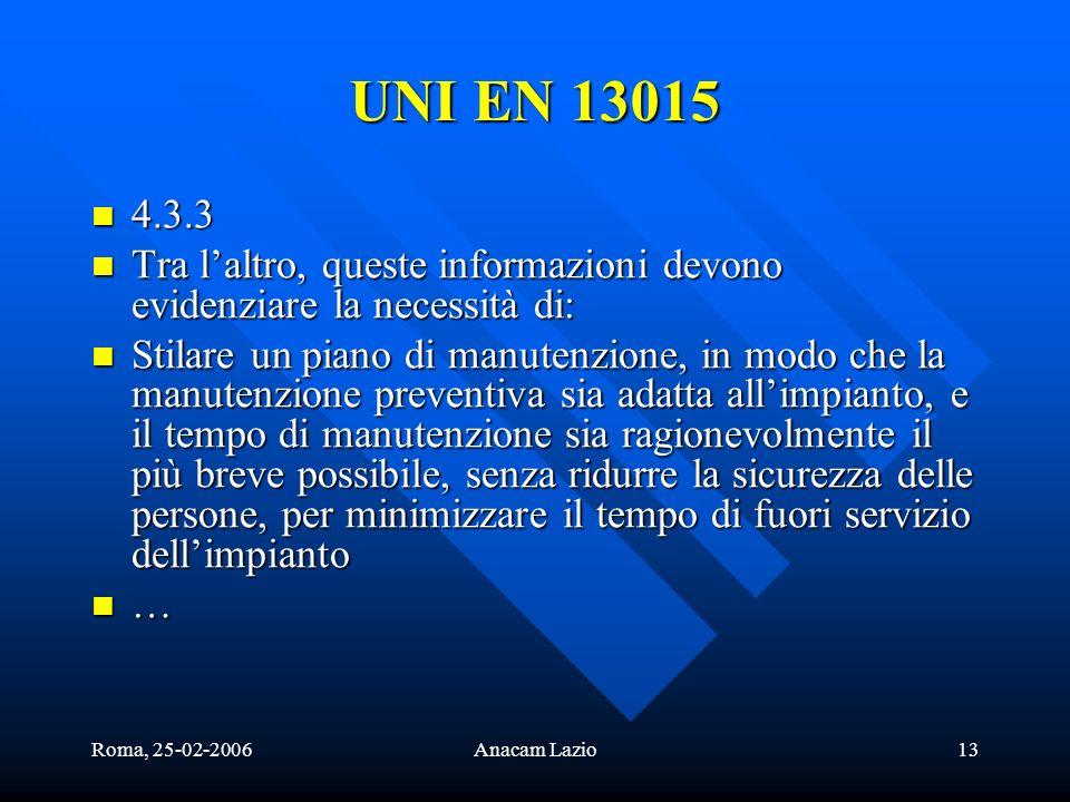 Roma, 25-02-2006Anacam Lazio13 4.3.3 4.3.3 Tra laltro, queste informazioni devono evidenziare la necessità di: Tra laltro, queste informazioni devono