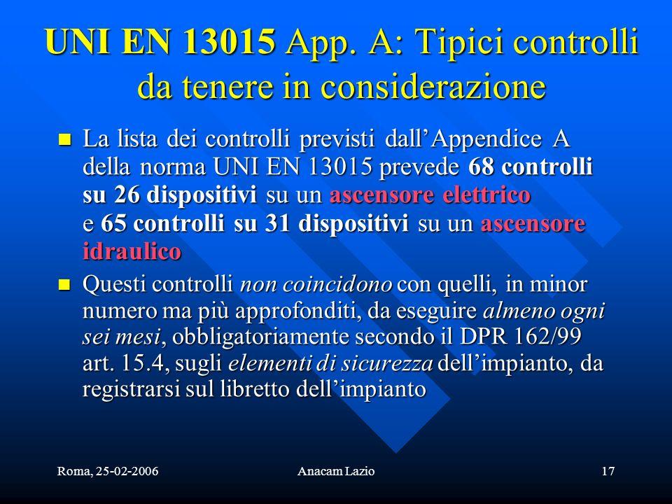 Roma, 25-02-2006Anacam Lazio17 UNI EN 13015 App. A: Tipici controlli da tenere in considerazione La lista dei controlli previsti dallAppendice A della