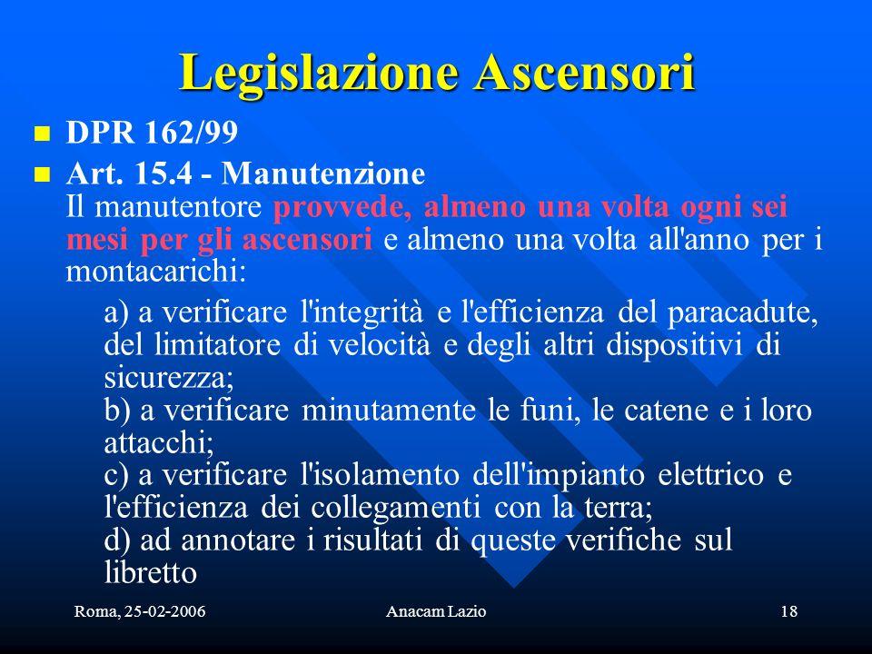 Roma, 25-02-2006Anacam Lazio18 Legislazione Ascensori DPR 162/99 Art. 15.4 - Manutenzione Il manutentore provvede, almeno una volta ogni sei mesi per