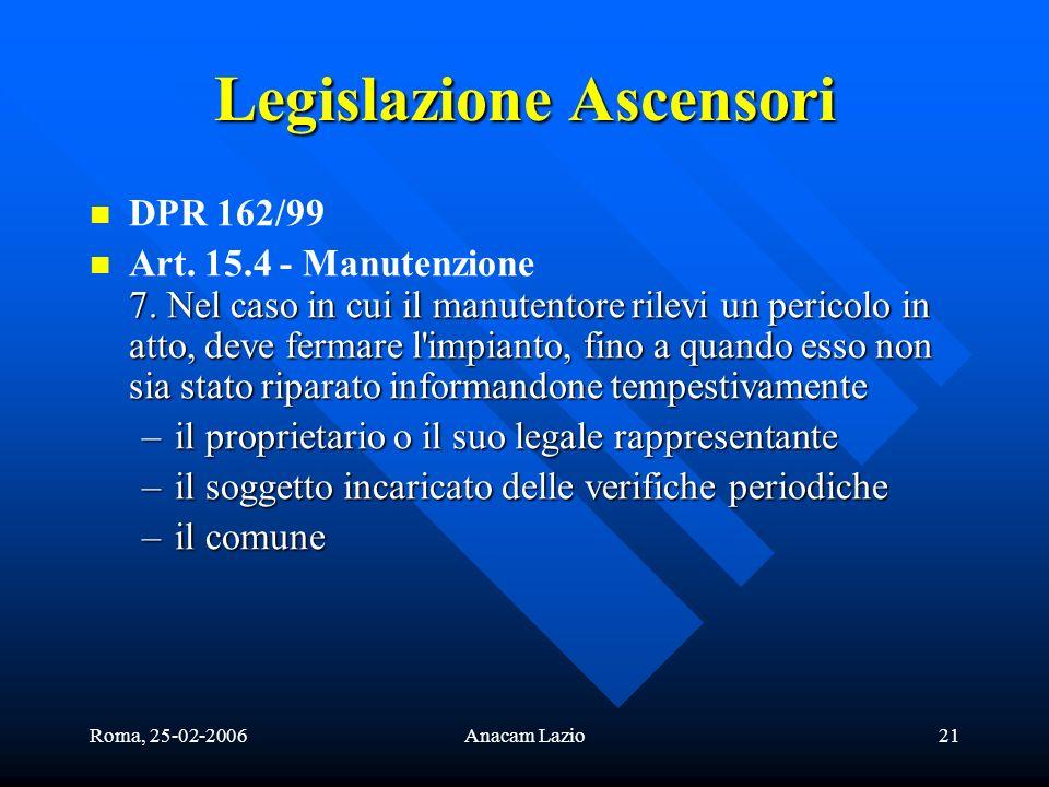 Roma, 25-02-2006Anacam Lazio21 Legislazione Ascensori DPR 162/99 7. Nel caso in cui il manutentore rilevi un pericolo in atto, deve fermare l'impianto