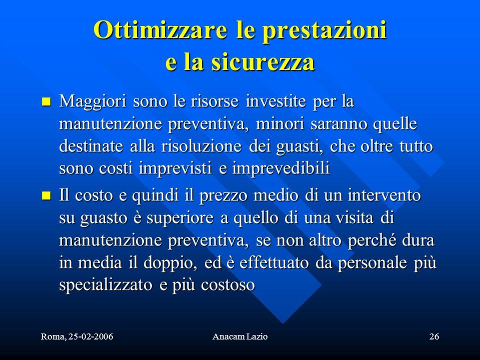 Roma, 25-02-2006Anacam Lazio26 Ottimizzare le prestazioni e la sicurezza Maggiori sono le risorse investite per la manutenzione preventiva, minori sar