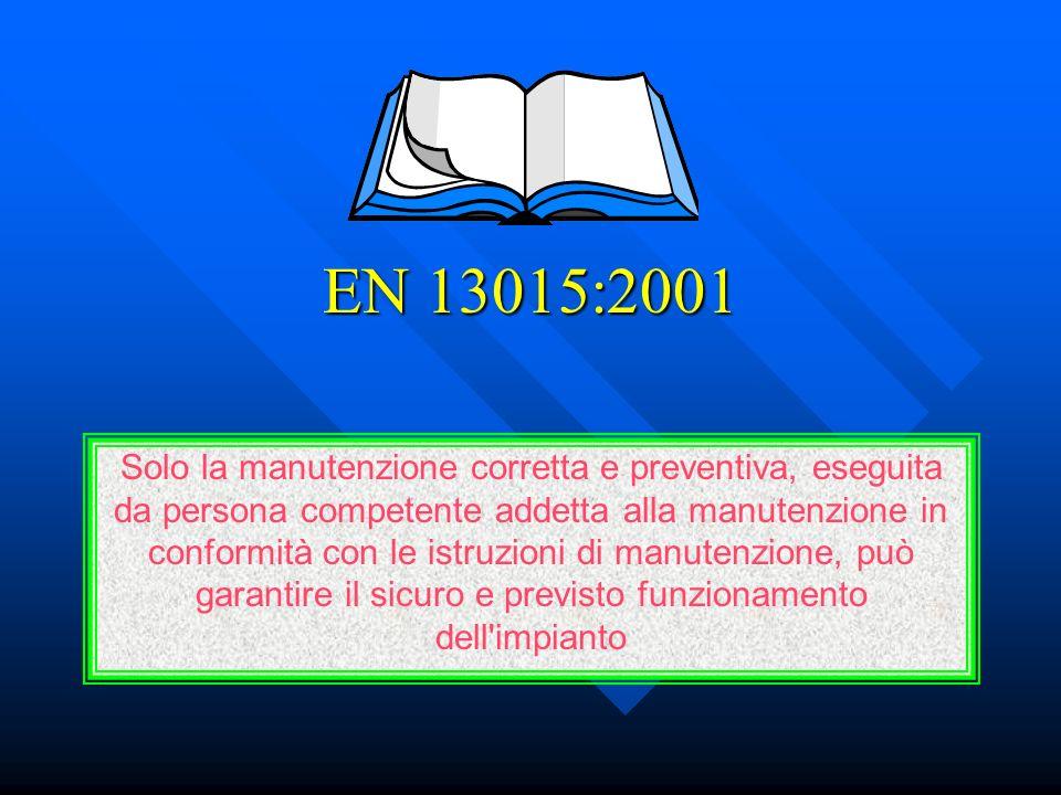 EN 13015:2001 Solo la manutenzione corretta e preventiva, eseguita da persona competente addetta alla manutenzione in conformità con le istruzioni di manutenzione, può garantire il sicuro e previsto funzionamento dell impianto