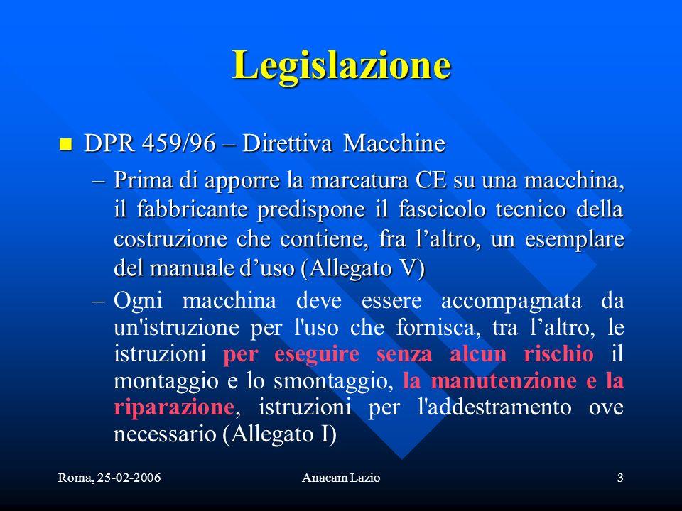 Roma, 25-02-2006Anacam Lazio3 Legislazione DPR 459/96 – Direttiva Macchine DPR 459/96 – Direttiva Macchine –Prima di apporre la marcatura CE su una ma