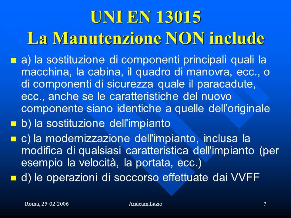 Roma, 25-02-2006Anacam Lazio7 UNI EN 13015 La Manutenzione NON include a) la sostituzione di componenti principali quali la macchina, la cabina, il qu