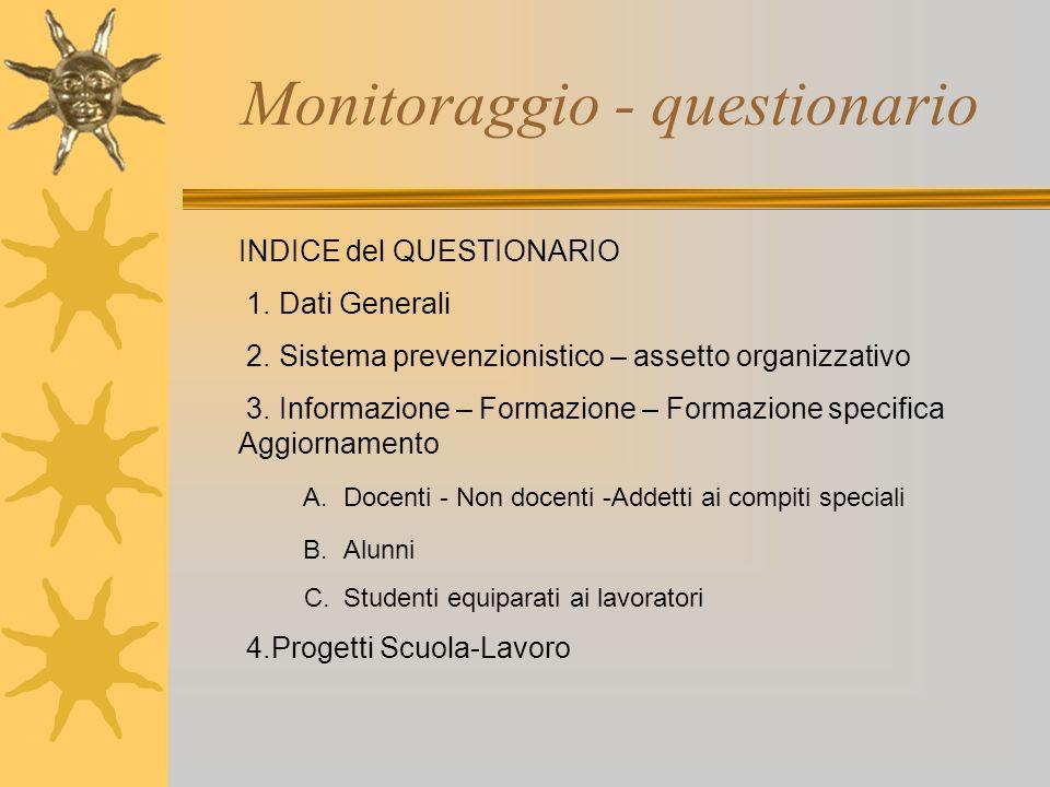 Monitoraggio - questionario INDICE del QUESTIONARIO 1. Dati Generali 2. Sistema prevenzionistico – assetto organizzativo 3. Informazione – Formazione
