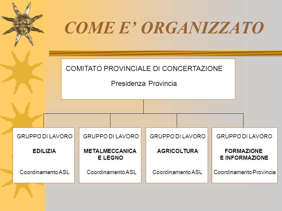COME E ORGANIZZATO GRUPPO DI LAVORO EDILIZIA Coordinamento ASL GRUPPO DI LAVORO METALMECCANICA E LEGNO Coordinamento ASL GRUPPO DI LAVORO AGRICOLTURA