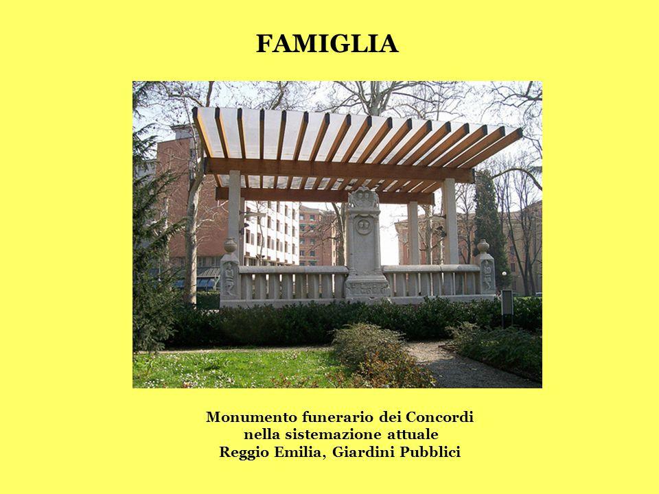 Monumento funerario dei Concordi nella sistemazione attuale Reggio Emilia, Giardini Pubblici FAMIGLIA
