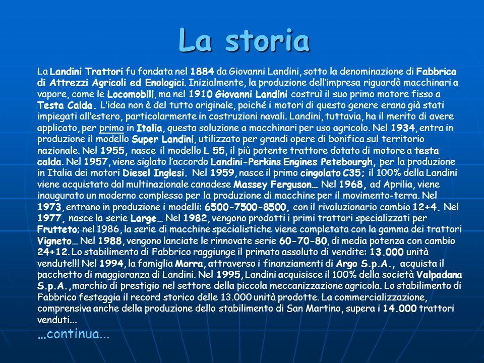 La storia La Landini Trattori fu fondata nel 1884 da Giovanni Landini, sotto la denominazione di Fabbrica di Attrezzi Agricoli ed Enologici. Inizialme