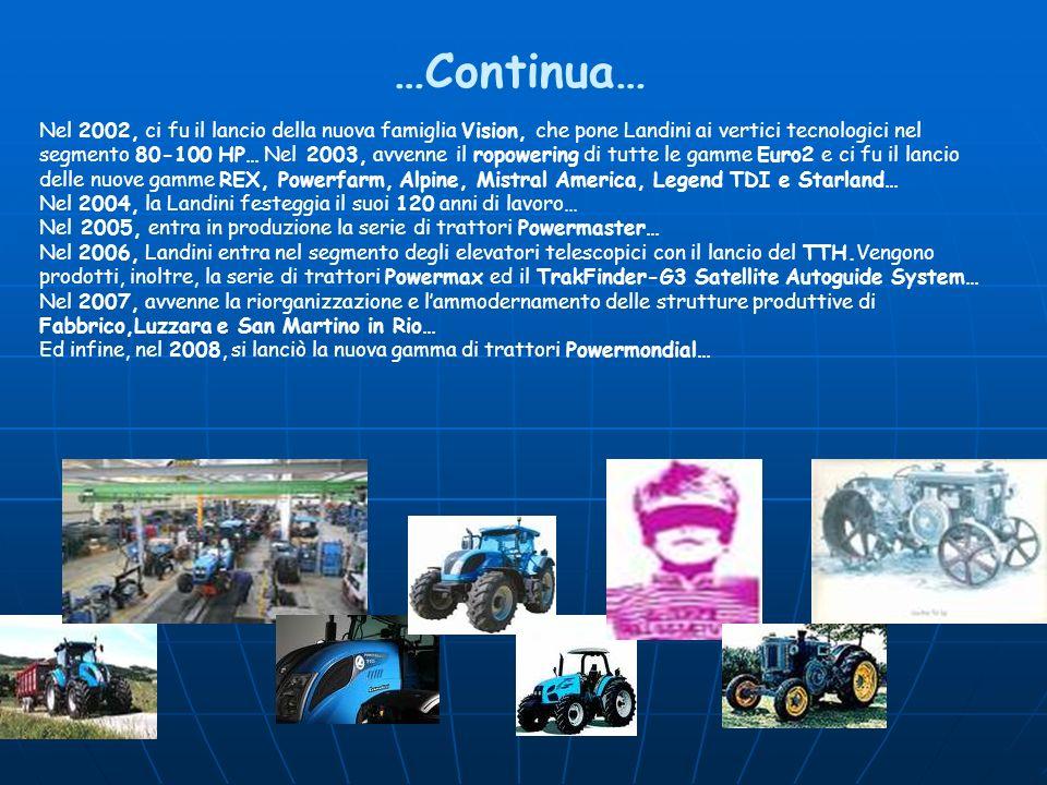 Nel 2002, ci fu il lancio della nuova famiglia Vision, che pone Landini ai vertici tecnologici nel segmento 80-100 HP… Nel 2003, avvenne il ropowering
