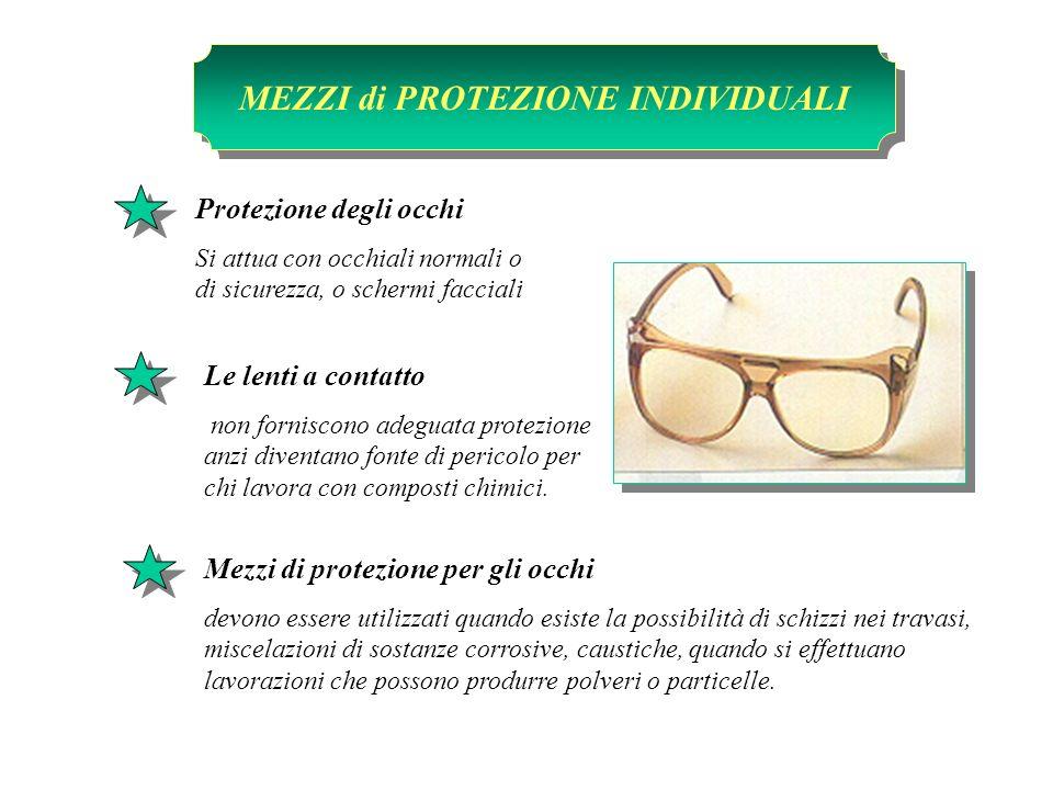 Le lenti a contatto non forniscono adeguata protezione anzi diventano fonte di pericolo per chi lavora con composti chimici. Protezione degli occhi Si
