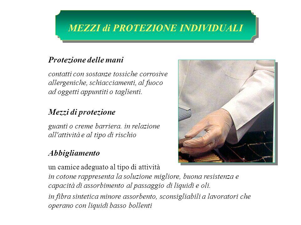 Protezione delle mani contatti con sostanze tossiche corrosive allergeniche, schiacciamenti, al fuoco ad oggetti appuntiti o taglienti. Mezzi di prote