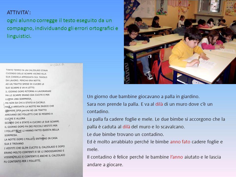 ATTIVITA: ogni alunno corregge il testo eseguito da un compagno, individuando gli errori ortografici e linguistici.