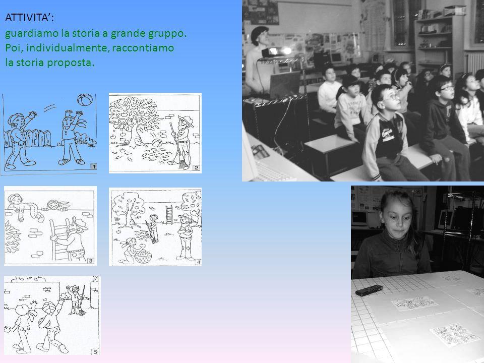 ATTIVITA A PICCOLO GRUPPO: scriviamo la storia utilizzando solo i fumetti.