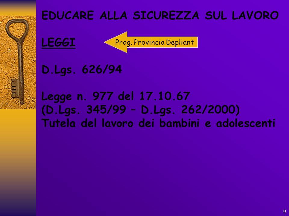 9 EDUCARE ALLA SICUREZZA SUL LAVORO LEGGI D.Lgs. 626/94 Legge n. 977 del 17.10.67 (D.Lgs. 345/99 – D.Lgs. 262/2000) Tutela del lavoro dei bambini e ad