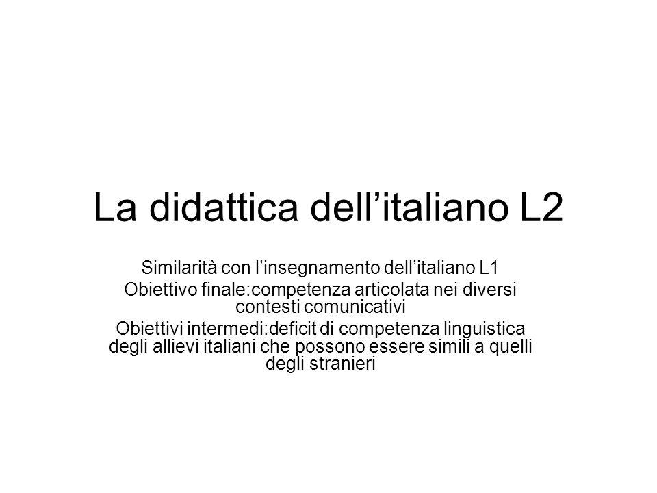 La didattica dellitaliano L2 Similarità con linsegnamento dellitaliano L1 Obiettivo finale:competenza articolata nei diversi contesti comunicativi Obi