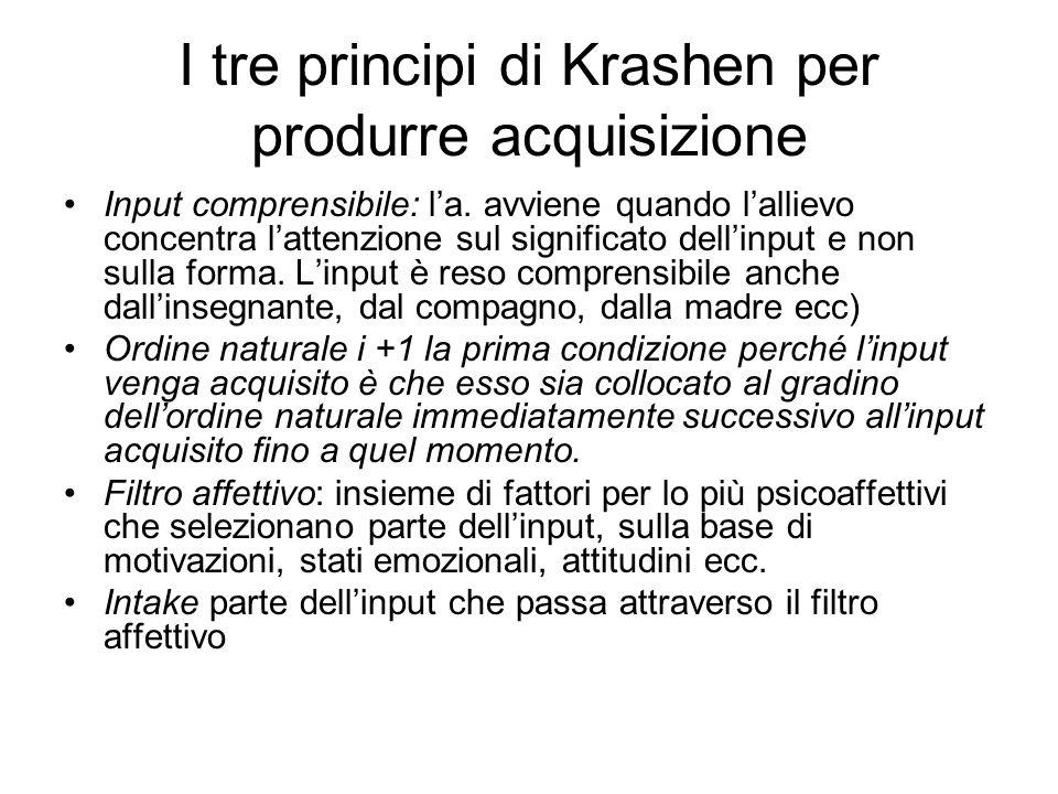 I tre principi di Krashen per produrre acquisizione Input comprensibile: la. avviene quando lallievo concentra lattenzione sul significato dellinput e
