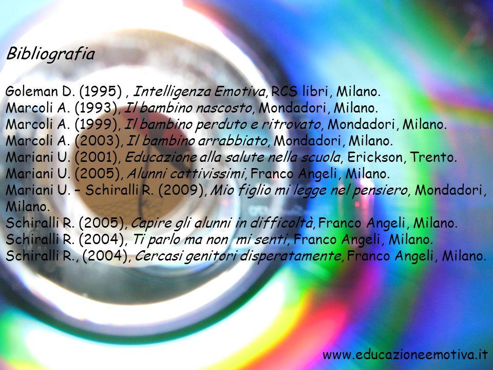 Bibliografia Goleman D. (1995), Intelligenza Emotiva, RCS libri, Milano. Marcoli A. (1993), Il bambino nascosto, Mondadori, Milano. Marcoli A. (1999),