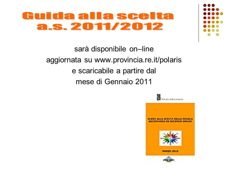 sarà disponibile on–line aggiornata su www.provincia.re.it/polaris e scaricabile a partire dal mese di Gennaio 2011