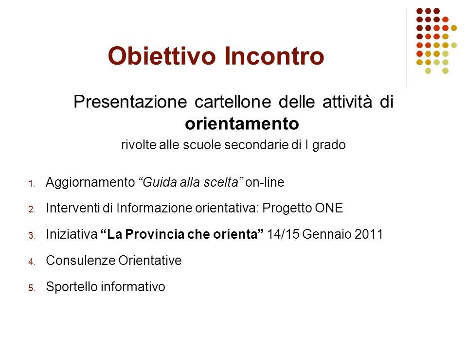 Obiettivo Incontro Presentazione cartellone delle attività di orientamento rivolte alle scuole secondarie di I grado 1.