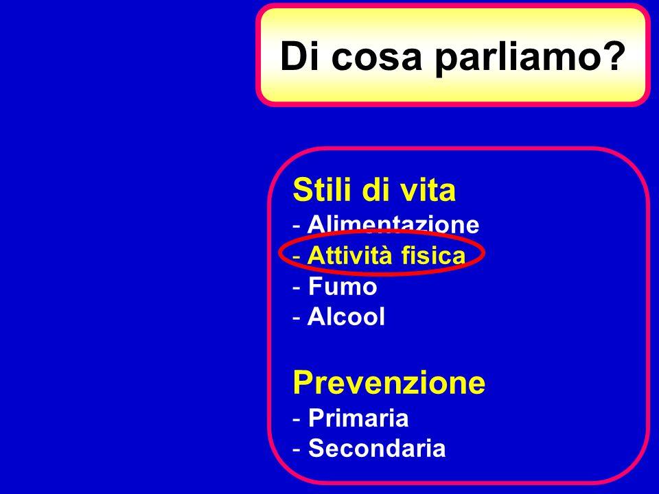 Di cosa parliamo? Stili di vita - Alimentazione - Attività fisica - Fumo - Alcool Prevenzione - Primaria - Secondaria