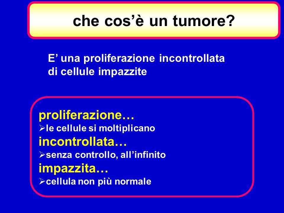 che cosè un tumore? E una proliferazione incontrollata di cellule impazzite proliferazione… le cellule si moltiplicano incontrollata… senza controllo,