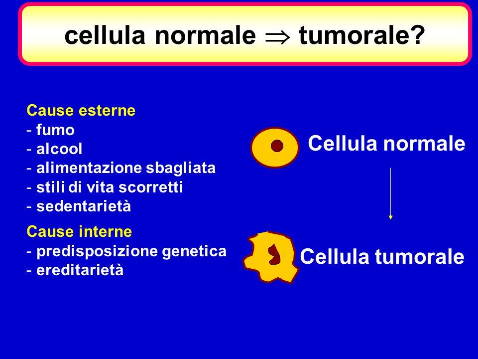 Cellula normale Cellula tumorale Cause esterne - fumo - alcool - alimentazione sbagliata - stili di vita scorretti - sedentarietà Cause interne - pred