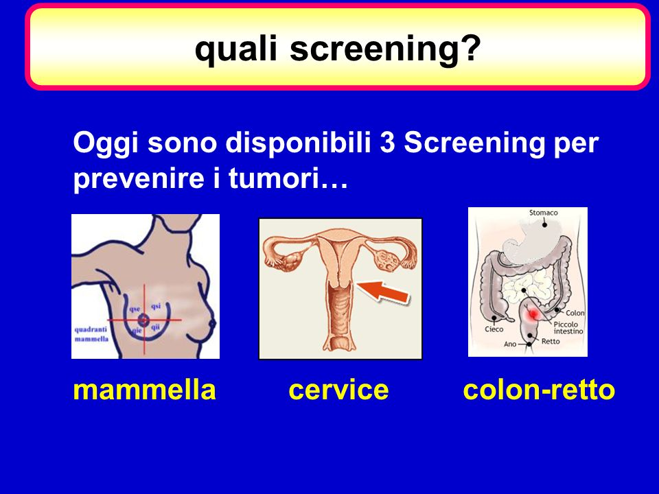 quali screening? Oggi sono disponibili 3 Screening per prevenire i tumori… mammellacervicecolon-retto