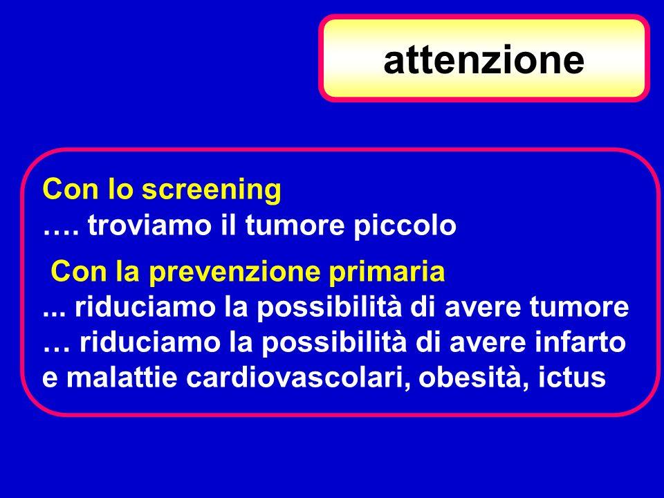attenzione Con lo screening …. troviamo il tumore piccolo Con la prevenzione primaria... riduciamo la possibilità di avere tumore … riduciamo la possi
