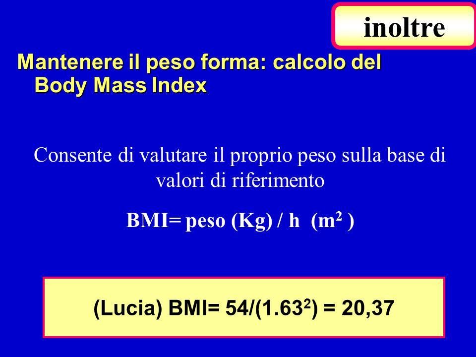 Consente di valutare il proprio peso sulla base di valori di riferimento BMI= peso (Kg) / h (m 2 ) Mantenere il peso forma: calcolo del Body Mass Inde