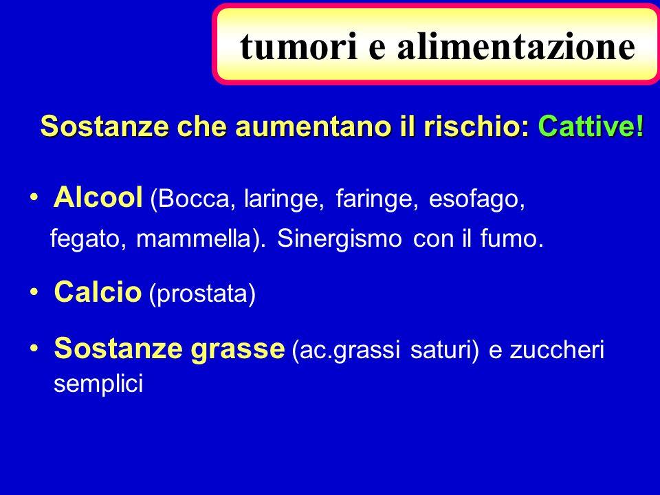 Alcool (Bocca, laringe, faringe, esofago, fegato, mammella). Sinergismo con il fumo. Calcio (prostata) Sostanze grasse (ac.grassi saturi) e zuccheri s