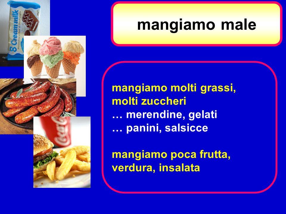 mangiamo male mangiamo molti grassi, molti zuccheri … merendine, gelati … panini, salsicce mangiamo poca frutta, verdura, insalata