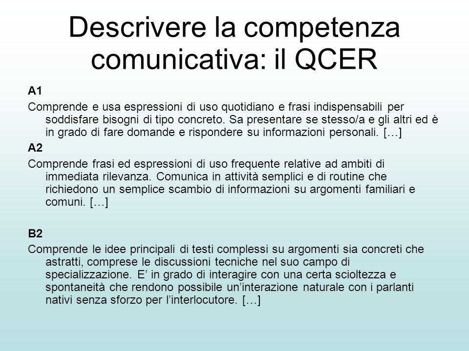 Descrivere la competenza linguistica Sa usare gli articoli determinativi e indeterminativi Sa coniugare i verbi al presente indicativo Sa coniugare i verbi al passato prossimo