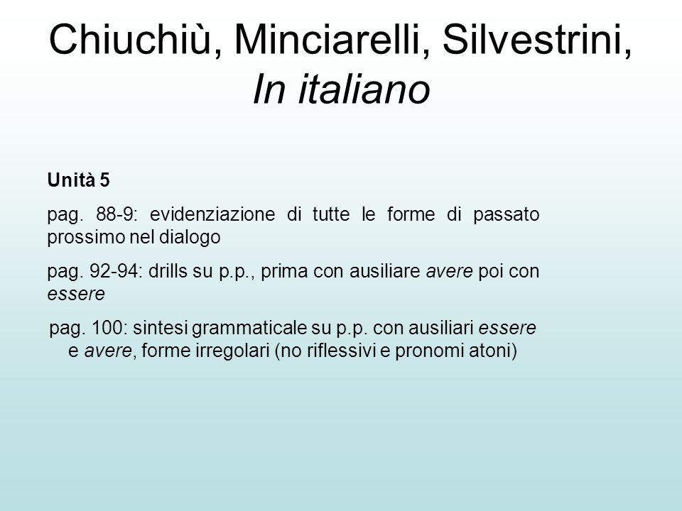 Chiuchiù, Minciarelli, Silvestrini, In italiano Unità 5 pag. 88-9: evidenziazione di tutte le forme di passato prossimo nel dialogo pag. 92-94: drills
