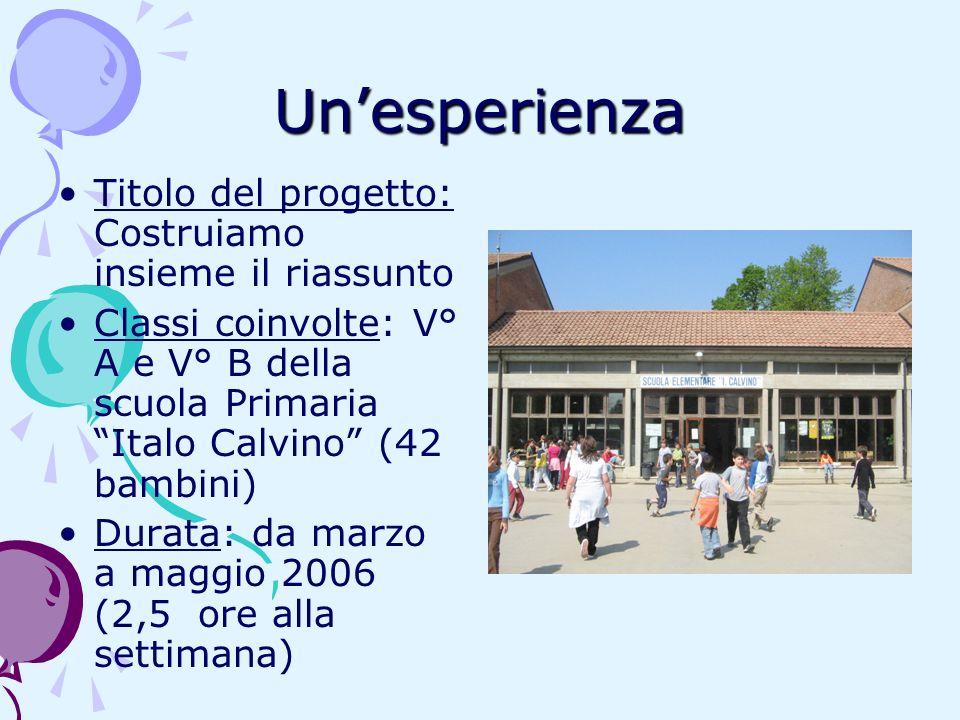 Unesperienza Titolo del progetto: Costruiamo insieme il riassunto Classi coinvolte: V° A e V° B della scuola Primaria Italo Calvino (42 bambini) Durat