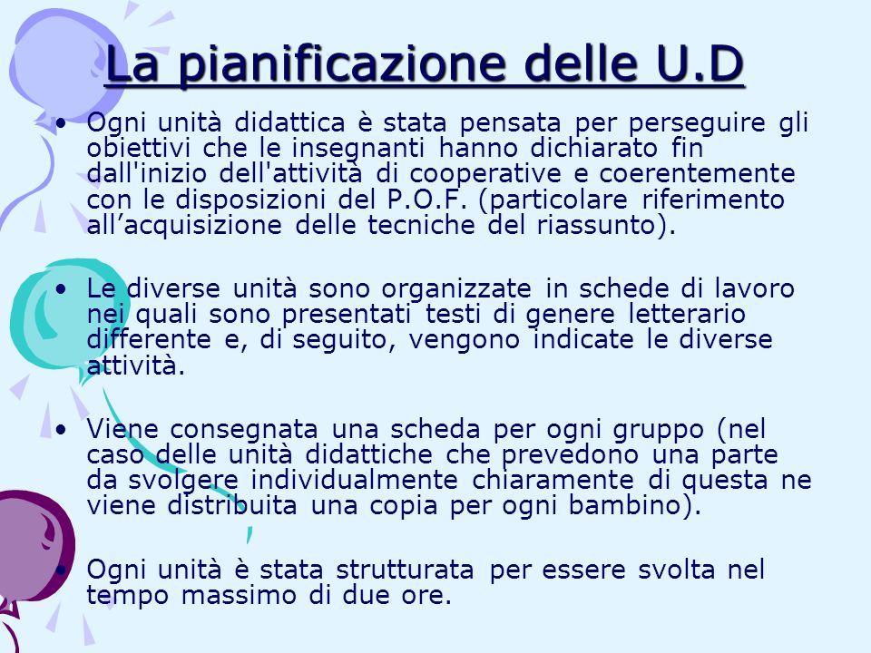 La pianificazione delle U.D Ogni unità didattica è stata pensata per perseguire gli obiettivi che le insegnanti hanno dichiarato fin dall'inizio dell'