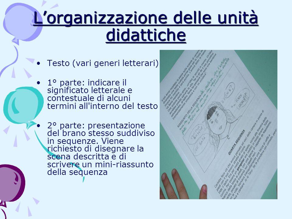 Lorganizzazione delle unità didattiche Testo (vari generi letterari) 1° parte: indicare il significato letterale e contestuale di alcuni termini all'i