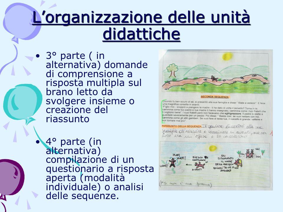 Lorganizzazione delle unità didattiche 3° parte ( in alternativa) domande di comprensione a risposta multipla sul brano letto da svolgere insieme o cr
