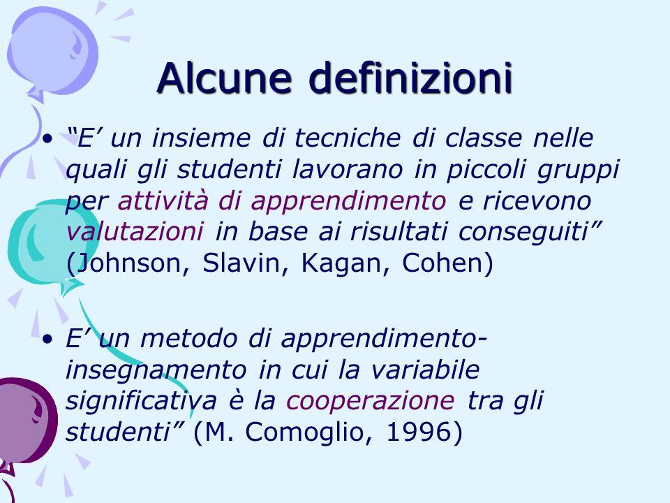 Alcune definizioni E un insieme di tecniche di classe nelle quali gli studenti lavorano in piccoli gruppi per attività di apprendimento e ricevono val